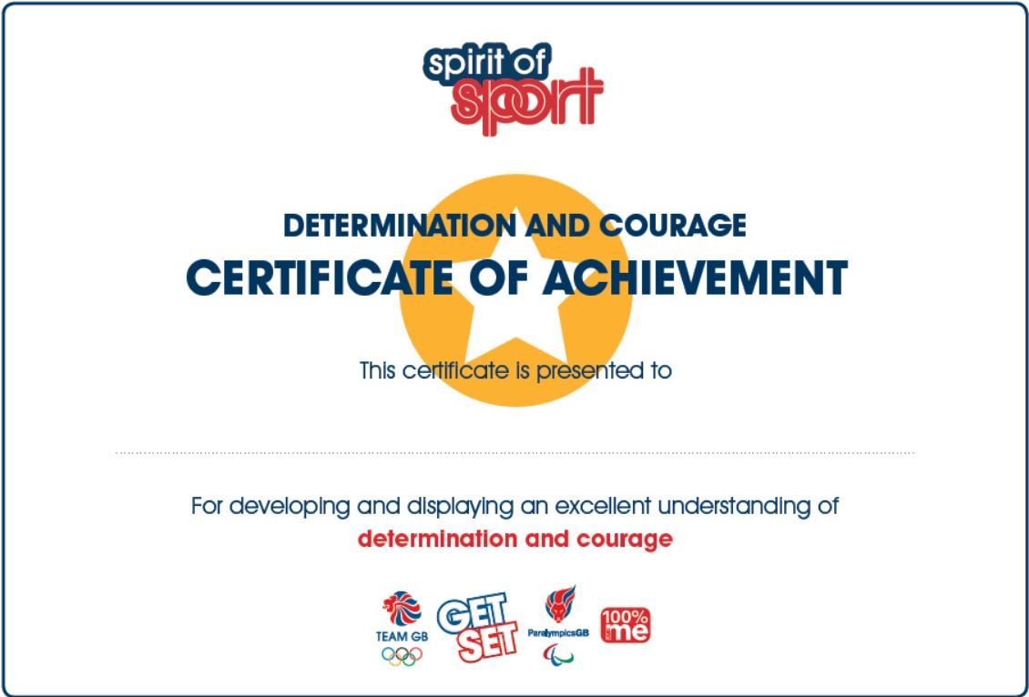 Spirit of Sport Certificates