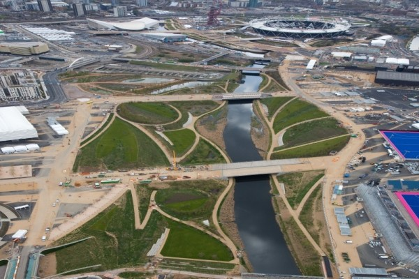 Aerial view of the River Lea through the Olympic park