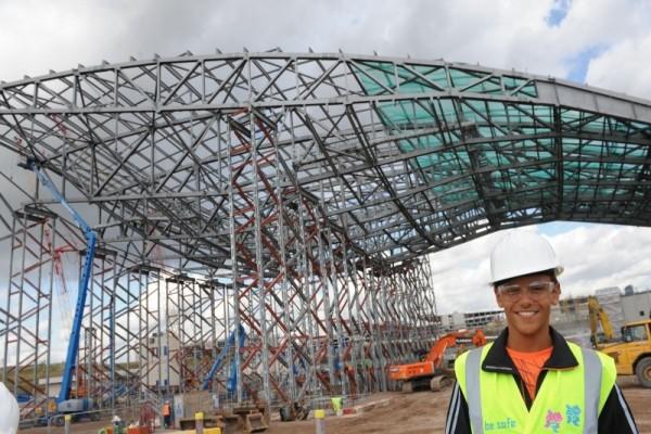 Aquatics Centre during construction