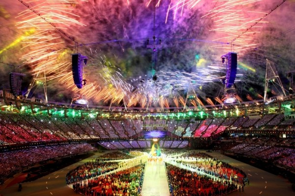 A view of the fireworks from inside the Olympic Stadium
