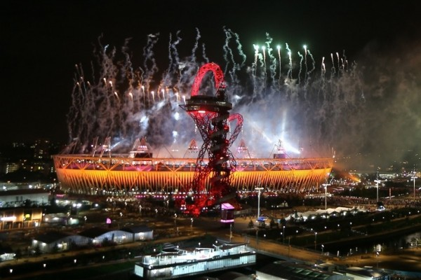 Fireworks across the Olympic Park