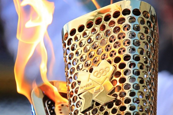 The kiss between Olympic Torches
