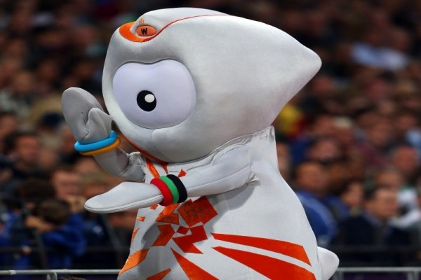 Wenlock entertains the crowd in the Olympic Stadium