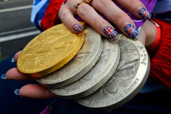 Paralympic medals being shown off