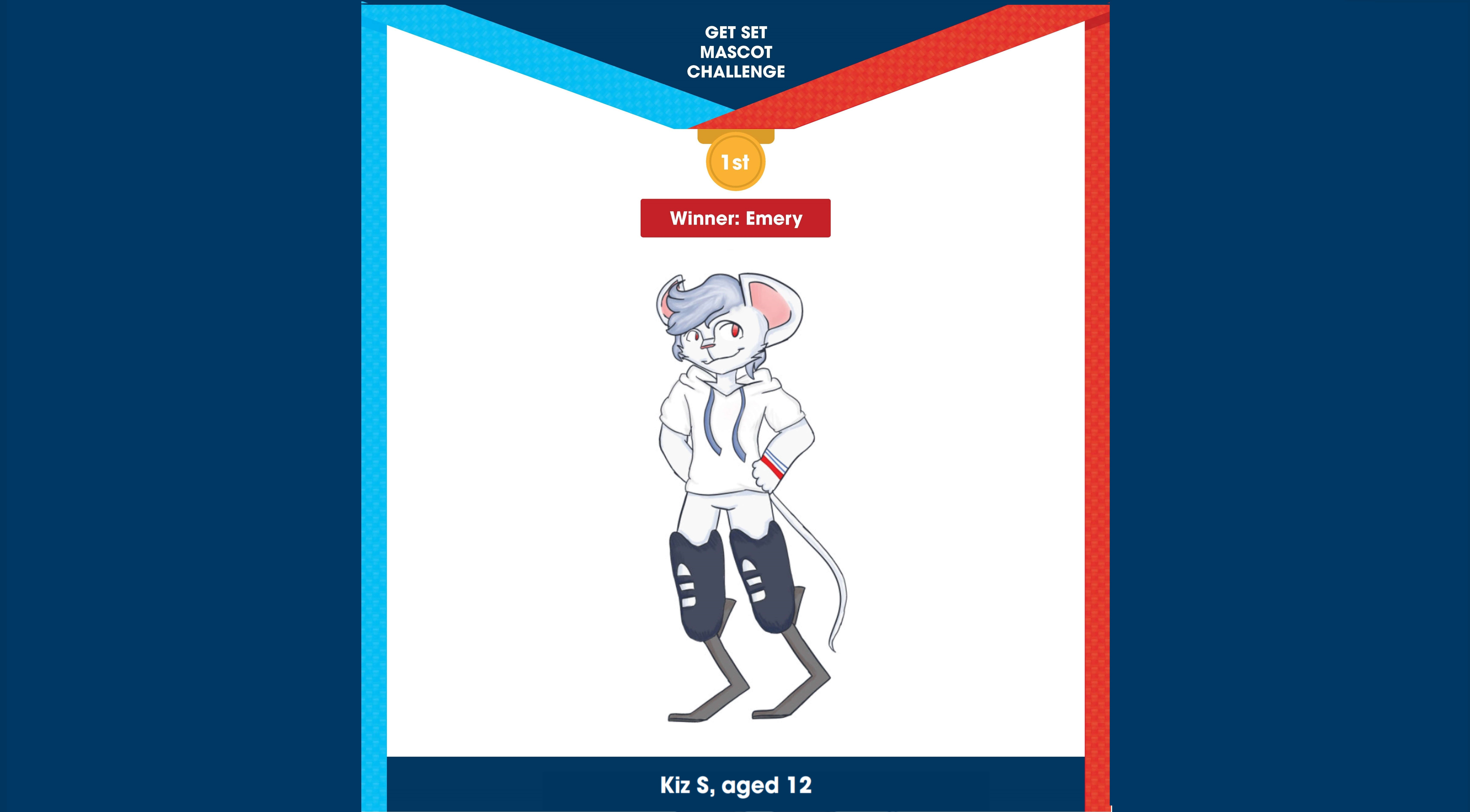 Image of the overall winning design in Get Set's Mascot Challenge. It shows a white mouse with running blades called Emery, designed by Kiz S, aged 12.
